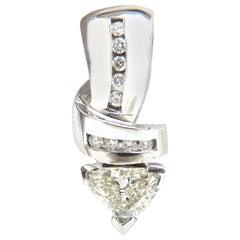 1.43 Carat Trilliant Natural Diamonds Pendant / Enhancer Slide Omega Necklace