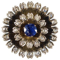 Early Victorian Sapphire and Diamond Brooch in 14 Carat Yellow Gold and Silver