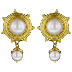 Elizabeth Locke 18 Karat Yellow Gold Mabe Pearl Earrings