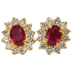 GIA Certified 3.64 Carat Natural Ruby Diamond Earrings 18 Karat