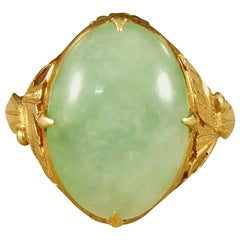 Quality Antique Detailed 22 Carat Yellow Gold Jade Ring