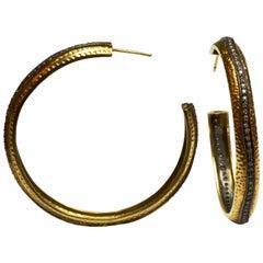 Vintage Gold and Diamond Hoop Earrings
