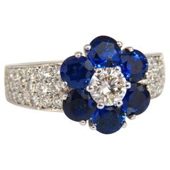 3.66 Carat Natural Sapphires Diamond Cluster Ring 14 Karat Royal Blue Floretta