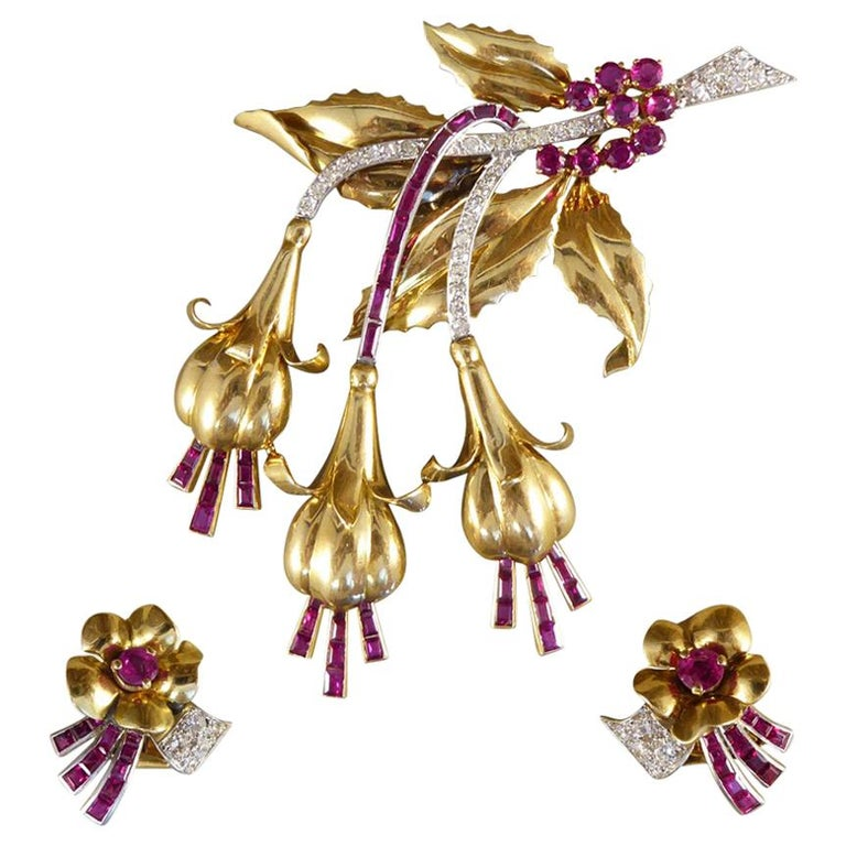 1950s Ruby and Diamond Floral Earring and Pin Set in 18 Carat Yellow Gold For Sale
