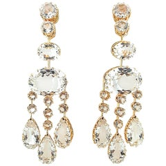 Ivanka Trump 18 Karat Rose Gold Rock Crystal Chandelier Earrings