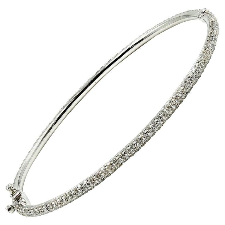 Diamond Bangle Bracelet 18 Karat White Gold