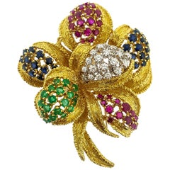 Multi-Gemstone 18 Karat Yellow Gold Flower Brooch