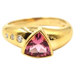 2.00 Carat Pink Tourmaline and Diamond Ring 18 Karat Yellow Gold