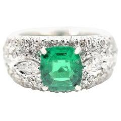 1.77 Carat Cushion Cut Emerald and Diamond Ring 14 Karat White Gold