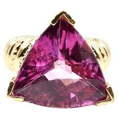 Trilliant Cut Pink Tourmaline Ring 14 Karat Yellow Gold