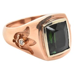 14 Karat Rose/White Gold And Faceted Green Tourmaline Ring