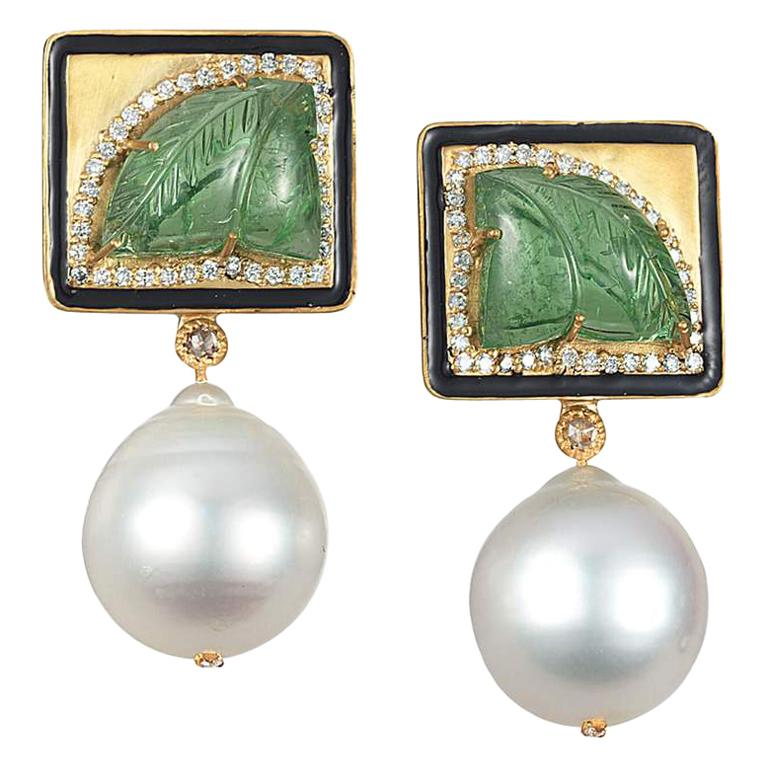 Coomi 20K Carved Tsavorite, White Pearl, and Diamond Earrings