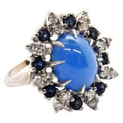 14 Karat White Gold, Diamond, Sapphire and Blue Cabochon Ring
