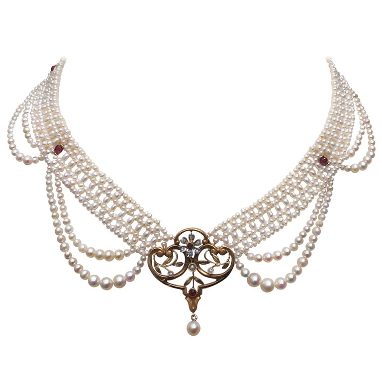 Victorian 14k Gold, Garnet, and Diamond Centerpiece with White Pearl Necklace