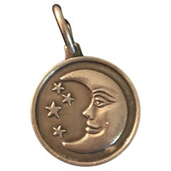 Vintage Sterling Silver Moon with Stars Charm or Pendent