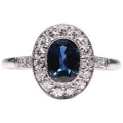 Modern Art Deco Style Platinum Diamond and Ruby Ring