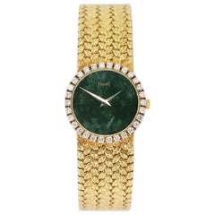 Piaget Ladies Yellow Gold Diamond Bezel Jade Dial quartz Wristwatch