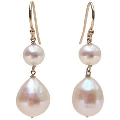 Double White Pearl Earrings with 14 Karat Yellow Gold Wiring and Hook