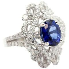 18 Karat White Gold 2.65 Carat Sapphire and 1.88 Carat Diamond Fashion Ring