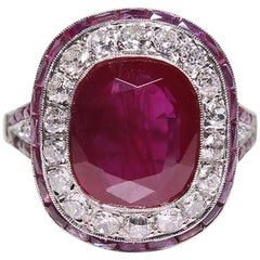 Modern Art Deco Style Platinum 5.68 Carat Ruby and Diamond Ring