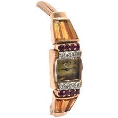 Ollendorff Ladies Rose Gold Diamond Ruby Citrine Vintage mechanical Wristwatch