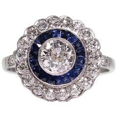 Modern Art Deco Style Platinum 1.45 Carat Diamond and Sapphire Ring