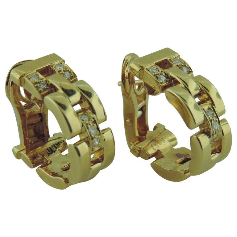 Cartier 18 Karat Yellow Gold Maillon Panthere Diamond Earrings