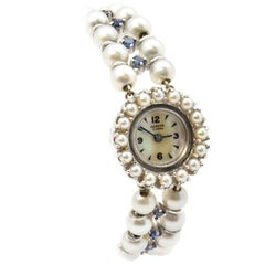 Geneva Ladies White Gold Pearl Synthetic Sapphire Vintage manual wind Wristwatch