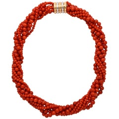 Italian Red Coral 7-Strand Necklace with 18k White, Yellow and Rose Gold Clasp