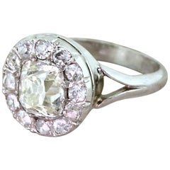 Art Deco 1.69 Carat Old Cut Diamond Cluster Ring