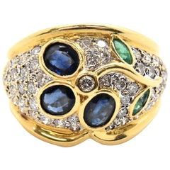 18 Karat Yellow Gold 0.98 Carat Diamond Sapphire and Emerald Fashion Ring