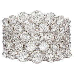 18 Karat White Gold and Diamond Five-Row Cluster Fashion Ring 3.65 Carat