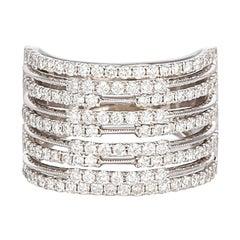 18 Karat White Gold and Diamond Nine-Row Fashion Cocktail Ring 1.62 Carat