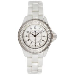 Chanel J12 White Ceramic Diamond Bezel Ladies Quartz Watch H0967 BNP