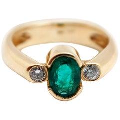 14 Karat Yellow Gold, 0.75 Carat Emerald and 0.17 Carat Diamond Ring