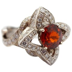 Custom 14 Karat White Gold, 3.89 Carat Garnet and 2.42 Carat Diamond Flower Ring