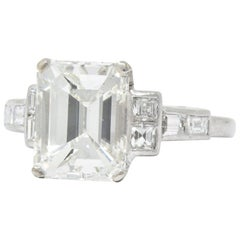 Art Deco 4.02 Carat Emerald Cut Diamond and Platinum Engagement Ring GIA
