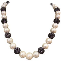 Cultured Pearl and Amethyst Collet Set Spherical Bead Necklace