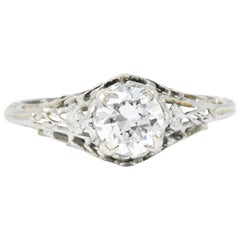 Edwardian 0.73 Carat Diamond and 18 Karat White Gold Engagement Ring GIA