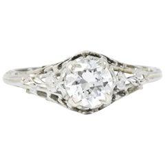 Edwardian 0.73 CTW Diamond 18 Karat White Gold Engagement Alternative Ring GIA