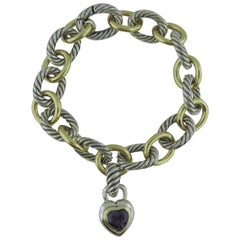 David Yurman Sterling Silver 18ky Gold Oval Bracelet With Amethyst Heart Pendant