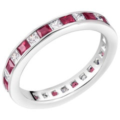 18 Karat White Gold Princess Ruby Alternating Diamond Eternity Band Ring