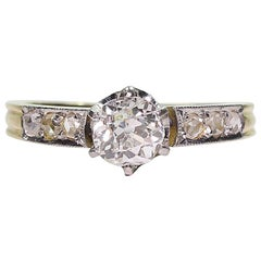 Original  Art Deco Style 18 Karat Gold 1 Carat Diamond Engagement Ring