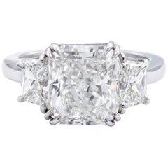 David Rosenberg 4.34 Carat Radiant GIA Platinum Engagement Diamond Ring