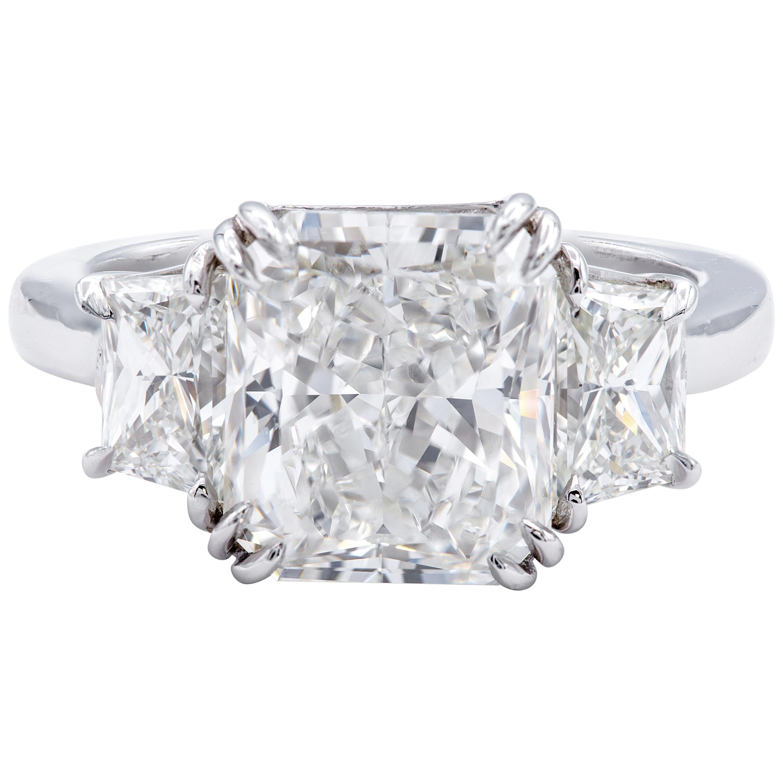 David Rosenberg 4.34 Carat Radiant Cut GIA Platinum Diamond Engagement Ring