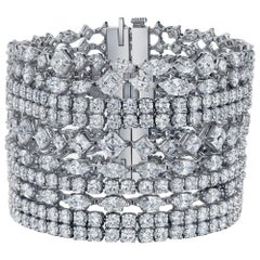 Harry Winston Secrets Collection Platinum Cluster Diamond Necklace and Bracelet