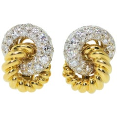 Vintage French Diamond Gold Earrings