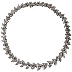 Graduated Platinum and Diamond Wreath Style Necklace