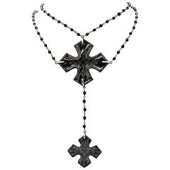 Baccarat Sterling and Full Lead Crystal Maltese Cross Necklace