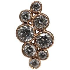 18 Karat Rose Gold and Bezel Set Diamond Cluster Ear Studs